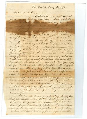 Primary view of object titled '[Letter from John Patterson Osterhout, July 16, 1870]'.
