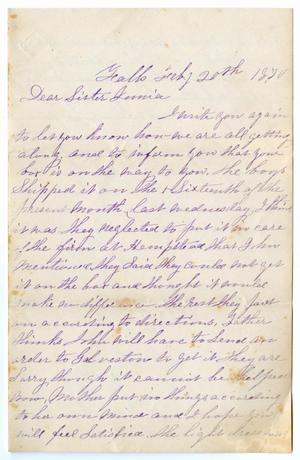 [Letter from E. Kirlin to Junia Roberts Osterhout, July 20, 1870]