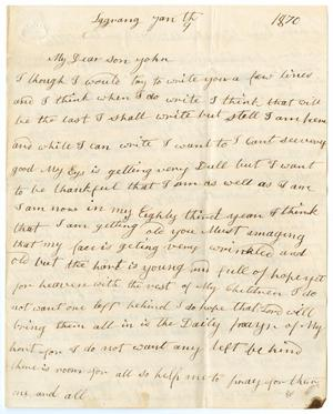 Primary view of object titled '[Letter from Sarah Osterhout to John Patterson Osterhout, January 9, 1870]'.
