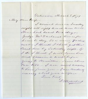 Primary view of object titled '[Letter from John Patterson Osterhout to Junia Roberts Osterhout, March 8, 1871]'.