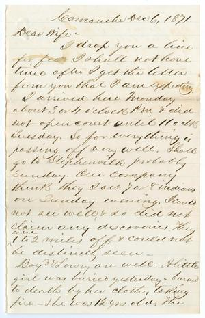Primary view of object titled '[Letter from John Patterson Osterhout to Junia Roberts Osterhout, December 6, 1871]'.