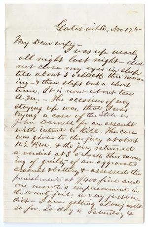 [Letter from John Patterson Osterhout to Junia Roberts Osterhout, November 12, 1871]