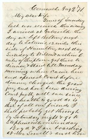 Primary view of object titled '[Letter from John Patterson Osterhout to Junia Roberts Osterhout, August 9, 1871]'.
