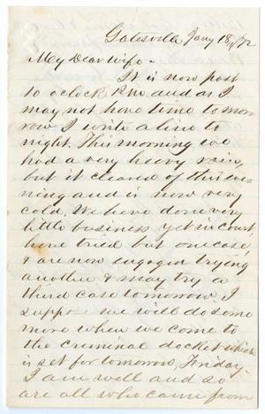 [Letter from John Patterson Osterhout to Junia Roberts Osterhout, January 18, 1872]