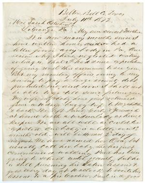 Primary view of object titled '[Letter from John Patterson Osterhout to Sarah Osterhout, July 11, 1872]'.