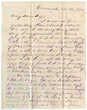 [Letter from John Patterson Osterhout to Junia Roberts Osterhout, November 12, 1872]