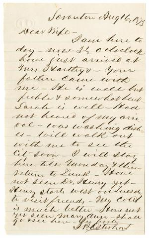 Primary view of object titled '[Letter from John Patterson Osterhout to Junia Roberts Osterhout, August 16, 1873]'.
