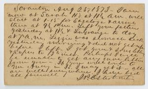 Primary view of object titled '[Postcard from John Patterson Osterhout to Junia Roberts Osterhout, August 25, 1873]'.
