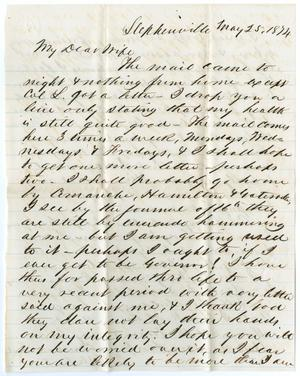Primary view of object titled '[Letter from John Patterson Osterhout to Junia Roberts Osterhout, May 25, 1874]'.