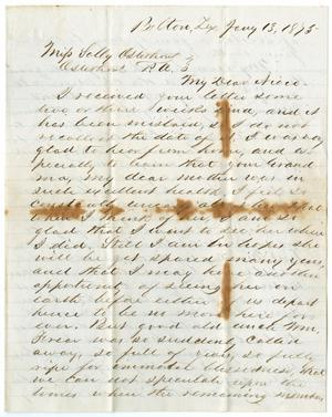 [Letter from John Patterson Osterhout to Sally Osterhout, January 13, 1875]