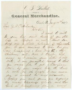 Primary view of object titled '[Letter from C. F. Hurlbut to John Patterson Osterhout, July 22, 1877]'.