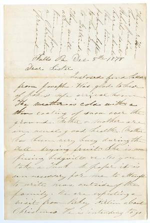 Primary view of object titled '[Letter from M. A. DeWitt to Junia Roberts Osterhout, December 8, 1878]'.