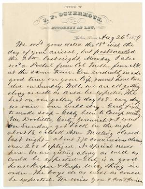 Primary view of object titled '[Letter from John Patterson Osterhout to Junia Roberts Osterhout, August 26, 1879]'.