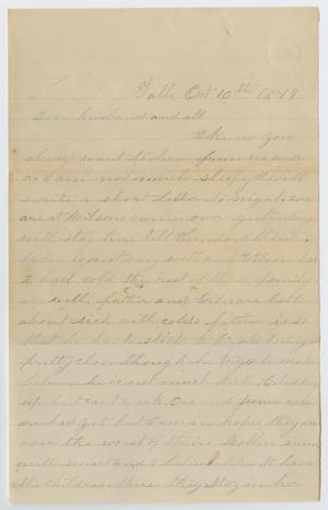 Primary view of object titled '[Letter from Junia Roberts Osterhout to John Patterson Osterhout, October 10,1879]'.