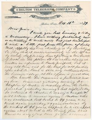 Primary view of object titled '[Letter from John Patterson Osterhout to Junia Roberts Osterhout, October 13, 1879]'.