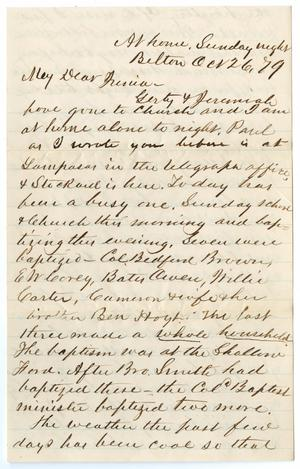 [Letter from John Patterson Osterhout to Junia Roberts Osterhout, October 26, 1879]