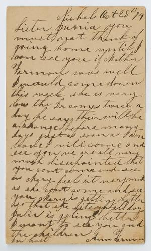 Primary view of object titled '[Postcard from Ann Farman to Junia Roberts Osterhout, October 28, 1879]'.