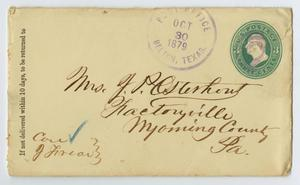 Primary view of object titled '[Envelope to Junia Roberts Osterhout, October 30, 1879]'.