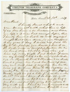 Primary view of object titled '[Letter from John Patterson Osterhout to Paul Osterhout, October 30, 1879]'.