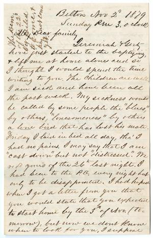 Primary view of object titled '[Letter from John Patterson Osterhout to Junia Roberts Osterhout and Family, November 2, 1879]'.