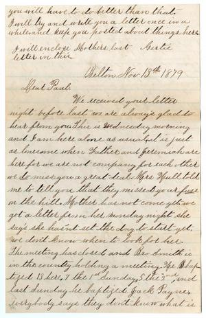 [Letter from Gertrude Osterhout to Paul Osterhout, November 13, 1879]