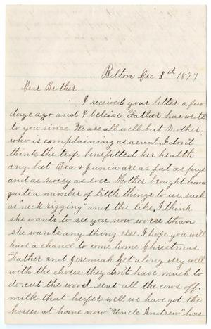 Primary view of object titled '[Letter from Gertrude Osterhout to Paul Osterhout, December 3, 1879]'.
