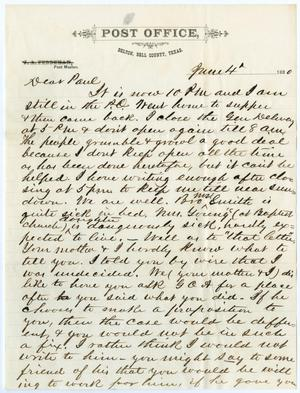 Primary view of object titled '[Letter from John Patterson Osterhout to Paul Osterhout, June 04, 1880]'.