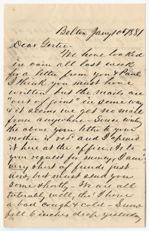 Primary view of object titled '[Letter from John Patterson Osterhout to Gertrude Osterhout, January 10, 1881]'.