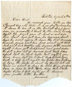 Primary view of object titled '[Letter from John Jeremiah Osterhout to Bud, April 2, 1881]'.