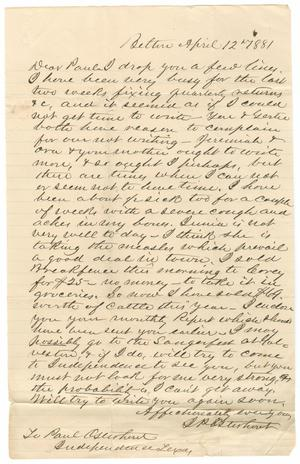 Primary view of object titled '[Letter from John Patterson Osterhout to Paul Osterhout, April 12, 1881]'.