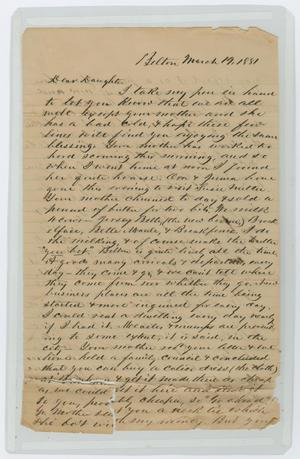 Primary view of object titled '[Letter from John Patterson Osterhout to Gertrude Osterhout, March 19, 1881]'.