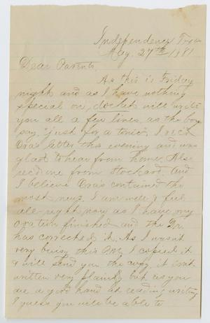Primary view of object titled '[Letter from Paul Osterhout to John Patterson and Junia Roberts Osterhout, May 27, 1881]'.