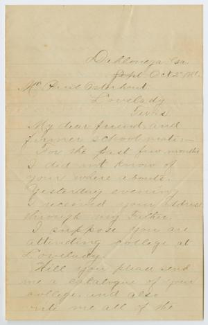 Primary view of object titled '[Letter from B. F. Lee to Paul Osterhout, October 2, 1881]'.