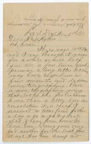 Primary view of object titled '[Letter from Paul Osterhout to John Patterson and Junia Roberts Osterhout, November 3, 1881]'.