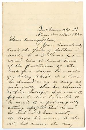 Primary view of object titled '[Letter from George E. Osterhout to Uncle Joham, November 10, 1882]'.