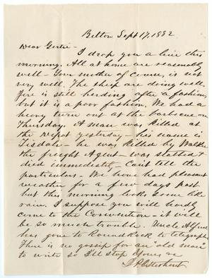 Primary view of object titled '[Letter from John Patterson Osterhout to Gertrude Osterhout, September 17, 1882]'.