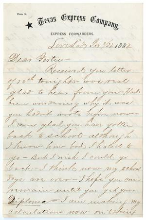 Primary view of object titled '[Letter from Paul Osterhout to Gertrude Osterhout, February 22, 1882]'.