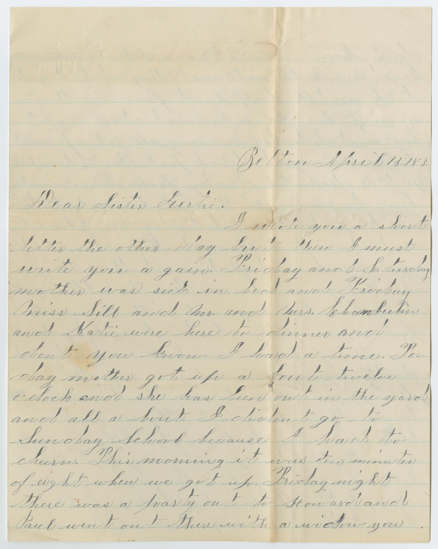 [Letter from Ora Osterhout to Gertrude Osterhout, April 15, 1883]                                                                                                      [Sequence #]: 1 of 4
