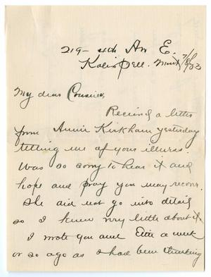 Primary view of object titled '[Letter from Lydia to Mr. and Mrs. George E. Osterhout, July 8, 1883]'.