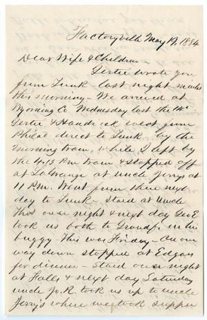 [Letter from John Patterson Osterhout to Junia Roberts Osterhout and Children, May 19, 1884]