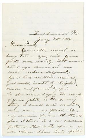 [Letter from George E. Osterhout to Paul Osterhout, January 8, 1884]