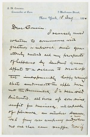 [Letter from E. B. Convers to his Cousin, August 15, 1884]