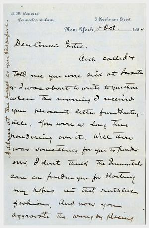Primary view of object titled '[Letter from E. B. Convers to Gertrude Osterhout, October 8, 1884]'.