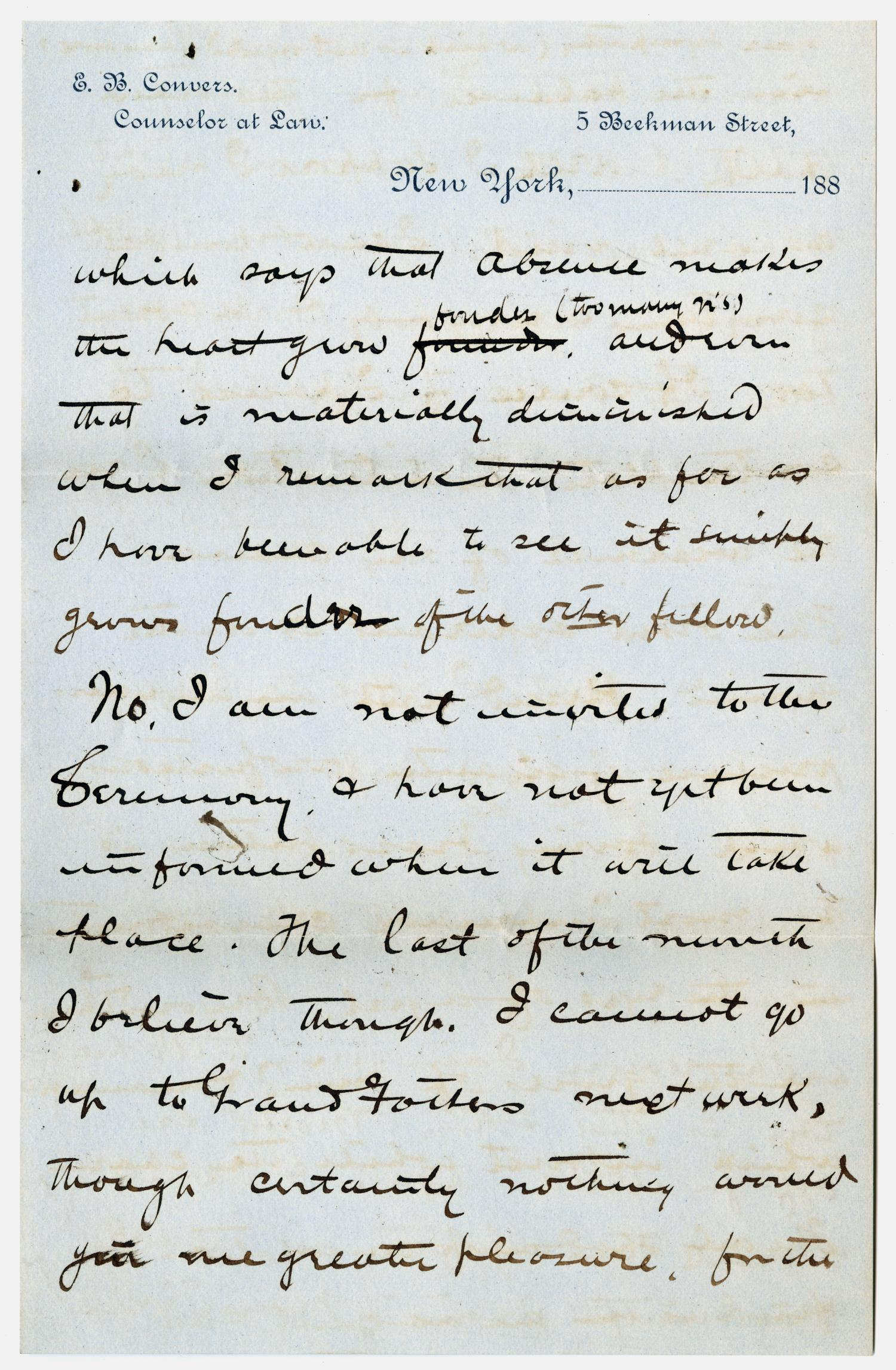 [Letter from E. B. Convers to Gertrude Osterhout, October 8, 1884]                                                                                                      [Sequence #]: 3 of 6