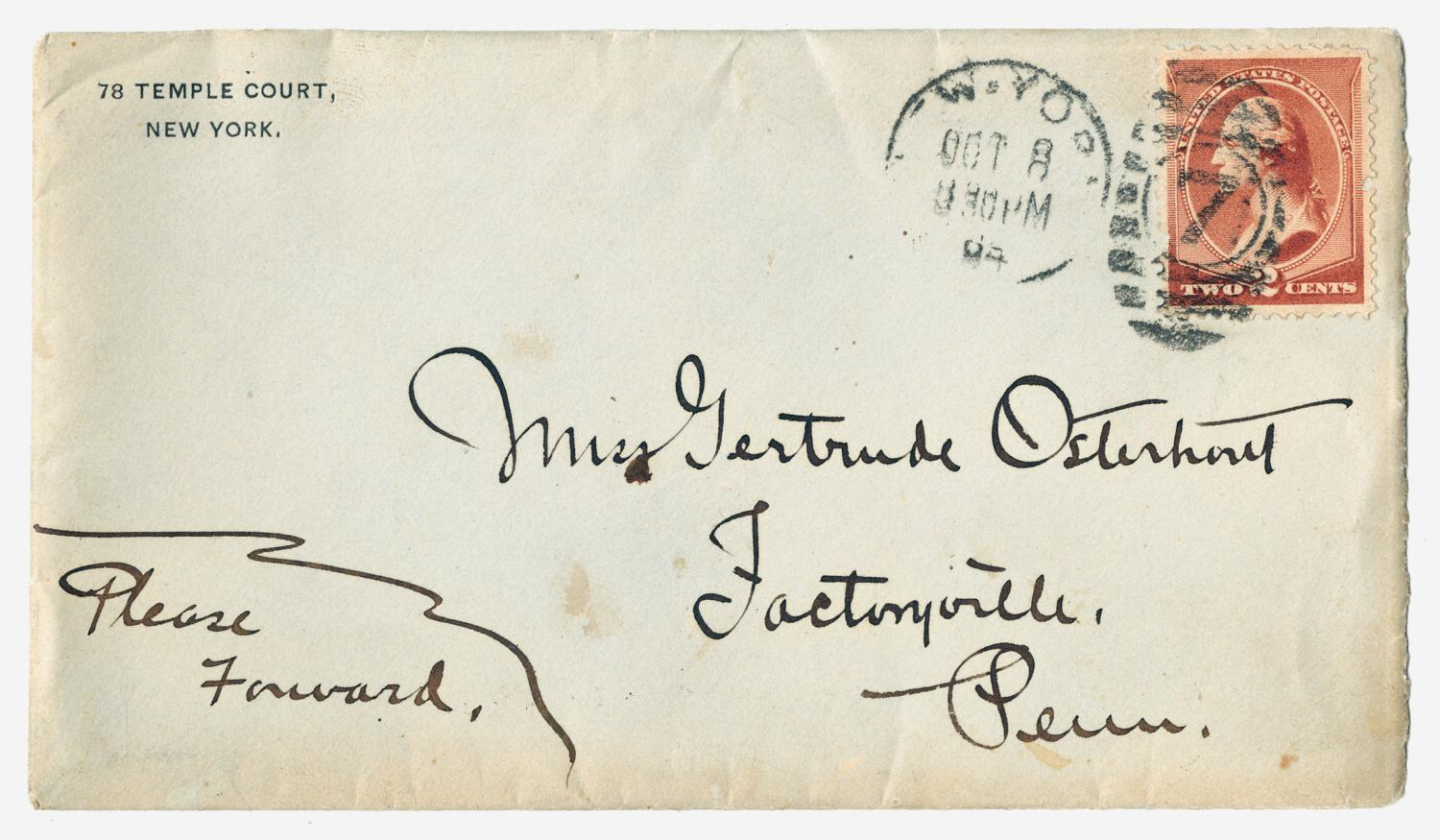 [Letter from E. B. Convers to Gertrude Osterhout, October 8, 1884]                                                                                                      [Sequence #]: 5 of 6