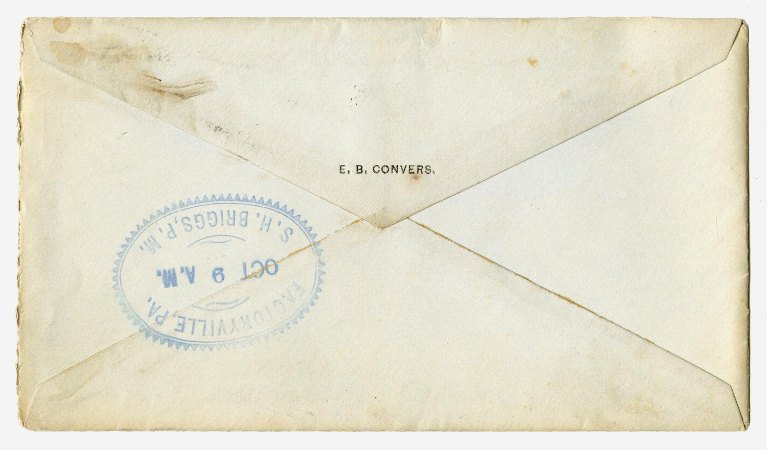 [Letter from E. B. Convers to Gertrude Osterhout, October 8, 1884]                                                                                                      [Sequence #]: 6 of 6