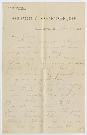 Primary view of object titled '[Letter from John Jeremiah Osterhout to Paul Osterhout, November 22, 1885]'.