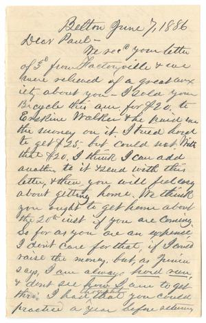Primary view of object titled '[Letter from John Patterson Osterhout to Paul Osterhout, June 7, 1886]'.