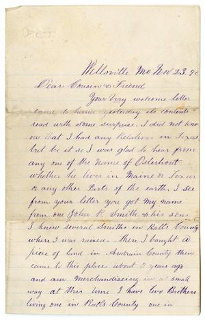 [Letter from Paul Osterhout to his Cousins and Friends, November 23, 1890]