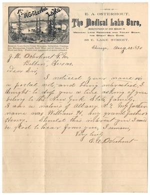 Primary view of object titled '[Letter from E. A. Osterhout to John Patterson Osterhout, August 22, 1890]'.